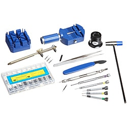 19-piece Plastic/Metal Watch Repair Tool Kit with Heavy-duty Box