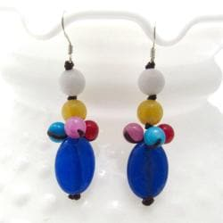 Colorful Beauty Blue Drop Mix Stone Handmade Earrings (Thailand)