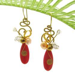 Teardrop Glam Red-Orange Howlite Brass Earrings (Thailand)