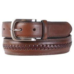 Tommy Hilfiger Men's Braid Detail Topstitched Genuine Leather Belt