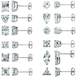 Sterling Silver Multi-shaped CZ 12-pair Stud Earring Set