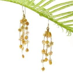 Striking Waterfall Freshwater Dyed Pearl .925 Silver Hooks Earrings (Thailand)