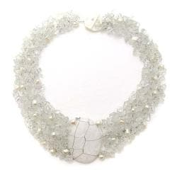 Cluster Delight White Granite Pendant Clear Quartz Beaded Necklace (Philippines)