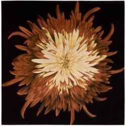 Nourison Hand-tufted Black/Red Bloom Rug (7'6 x 7'6)