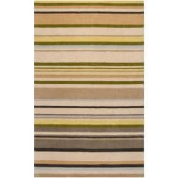 Harlequin Hand-tufted Beige Opaque Striped Wool Rug (8' x 10')