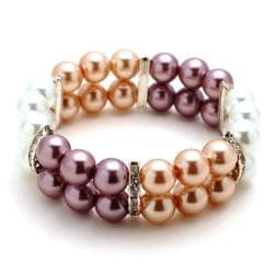 Beige/White/Mauve Glass Pearl Bead Stretch Bracelet