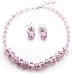 Pink Rose Murano Inspired Glass Marble Necklace and Earring Set