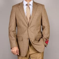 Men's Classic Camel Two-Button Wool Sport Coat