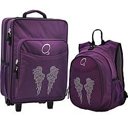 """O3 Kids """"Rhinestone Angel Wings"""" Pre-School Backpack and Suitcase Set"""