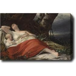Friedrich Ritter Von Amerling 'Sleeping Fisherwoman' Hand-painted Oil on Canvas