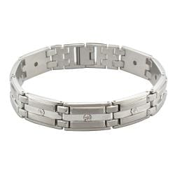 Sterling Silver and Stainless Steel Men's Diamond Accent Link Bracelet