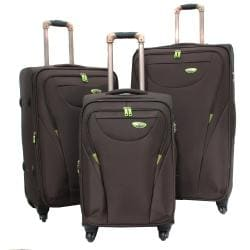 American Green Travel Brown 3-piece Expandable Spinner Luggage Set with TSA Lock
