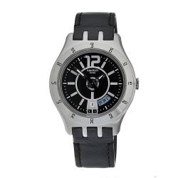 Swatch Men's Black Leather/Stainless-Steel Watch