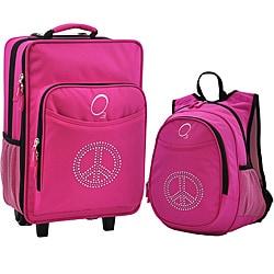 "O3 Kids ""Rhinestone Peace"" Pre-School Backpack and Suitcase Set"
