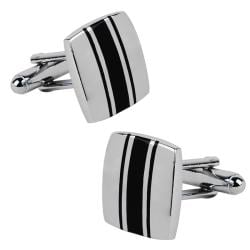 Zodaca Silver/ Black Square Cufflinks