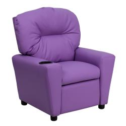 Flash Furniture Contemporary Lavender Vinyl Kids Recliner with Cup Holder 9089858