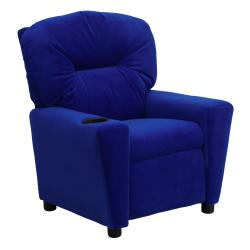 Contemporary Blue Microfiber Kids Recliner with Cup Holder 9089890