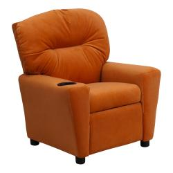 Contemporary Orange Microfiber Kids Recliner with Cup Holder 9089893