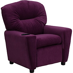 Contemporary Purple Microfiber Kids Recliner with Cup Holder 9089894