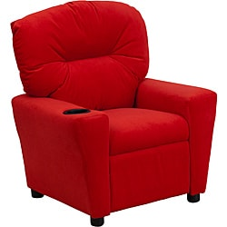 Contemporary Red Microfiber Kids Recliner with Cup Holder 9089895