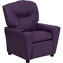 Contemporary Purple Vinyl Kids Recliner with Cup Holder 9089920