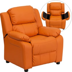 Deluxe Heavily Padded Contemporary Orange Vinyl Kids Recliner with Storage Arms 9089925