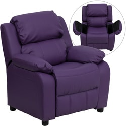 Deluxe Heavily Padded Contemporary Purple Vinyl Kids Recliner with Storage Arms 9089926