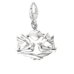 Sterling Silver Dove Band Heart Design Charm