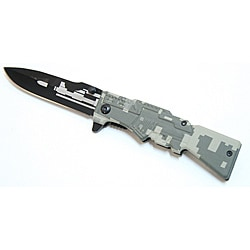 Defender Grey Camo Gun Design 8-inch Steel Pocket Knife