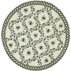 Safavieh Hand-hooked Bees Ivory/ Blue Wool Rug (5'6 Round)