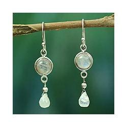 Sterling Silver 'Shimmer' Moonstone Dangle Earrings (India)
