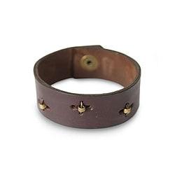 Leather Men's 'Hide and Seek in Brown' Wristband Bracelet (Ghana)