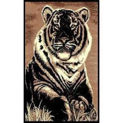African Adventure Sitting Tiger Area Rug (5' x 7')