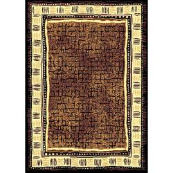 African Adventure Brown Area Rug (5' x 7')
