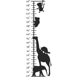 Kid's Room Cute Animals Growth Chart Vinyl Wall Decal