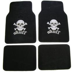 Silver Skull 4-piece Carpet Floor Mat Set