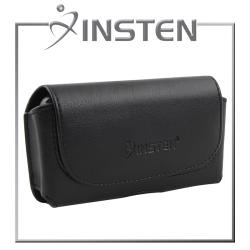 INSTEN Black Leather Pouch Case with Sturdy Belt Clip for Motorola Droid X MB810
