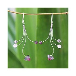 Sterling Silver 'Springtime' Amethyst Rose Quartz Earrings (Thailand)