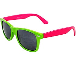 Unisex Green and Pink Color-block Sunglasses