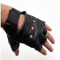 Defender Black Small Leather Fingerless Gloves 9124376
