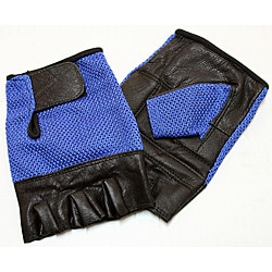 Defender Blue Large Leather Fingerless Gloves 9124380