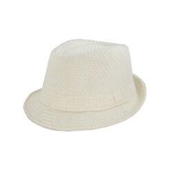 Faddism Men's Cream/ White Woven Fedora Hat