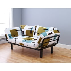 Somette Eli Spacely Multi-Flex Daybed Lounger in Black Metal and Geo White-Green Fabric and Pilllows Set
