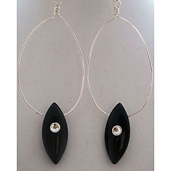 Black Tear Drop Crystal Earrings