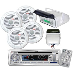 "Pyle In-Dash Marine CD/MP3/USB/SD Player with Stereo Housing and 4 x 6.5"" Speakers"