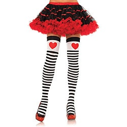 Leg Avenue Striped Stockings with Red Hearts