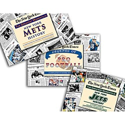 Collectible Newspaper Jets History, Mets History, and The Legends of Football Gift Set
