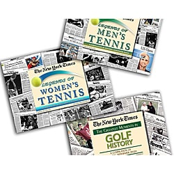 Collectible Newspaper Legends of Golf, Men's Tennis, and Women's Tennis Gift Set
