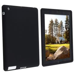 INSTEN Black Soft Silicone-skin Shock-absorbing Tablet Case Cover for Apple iPad 2