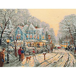 Thomas Kinkade A Holiday Gathering Counted Cross Stitch Kit-14 x 18 inches 16 Count